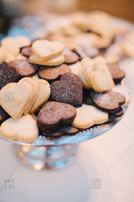 Heart-shaped cookies served at wedding reception