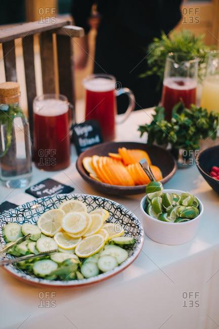 Cocktail garnishes served at wedding reception