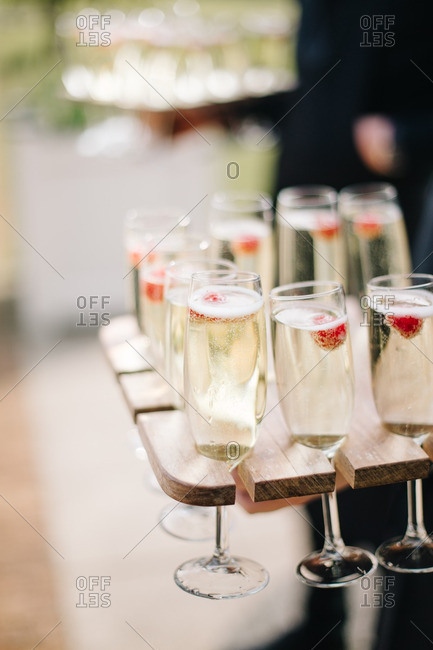 Champagne being served at wedding reception
