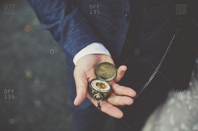Man holding a pocket watch
