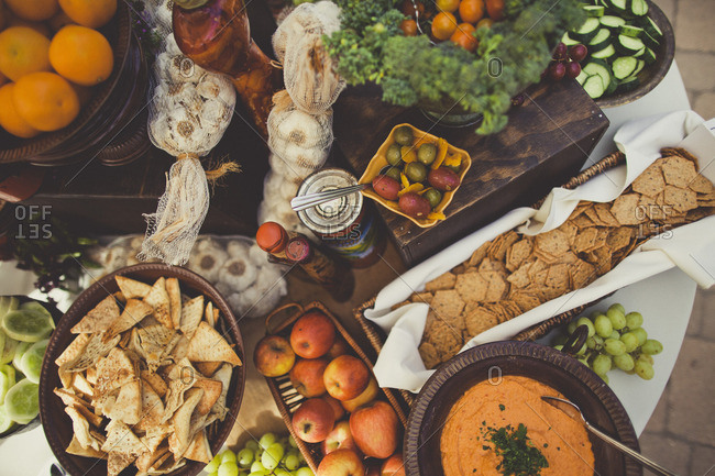 Various snacks on a table