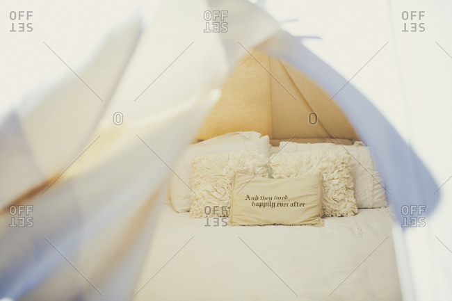 Tent with romantic pillows