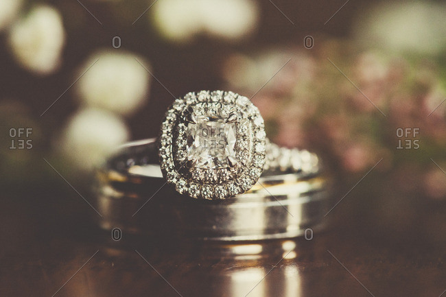 Engagement ring on wedding band