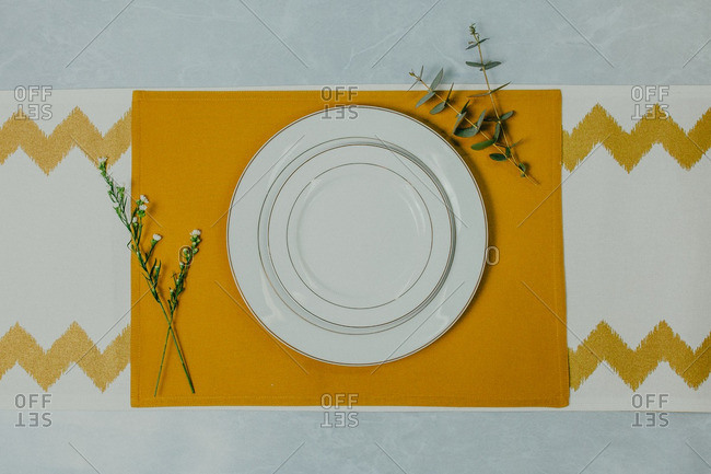 Overhead view of a colorful place setting
