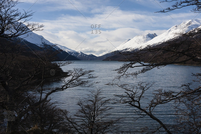 Lake with snow-covered mountains at El Chalten, Argentina