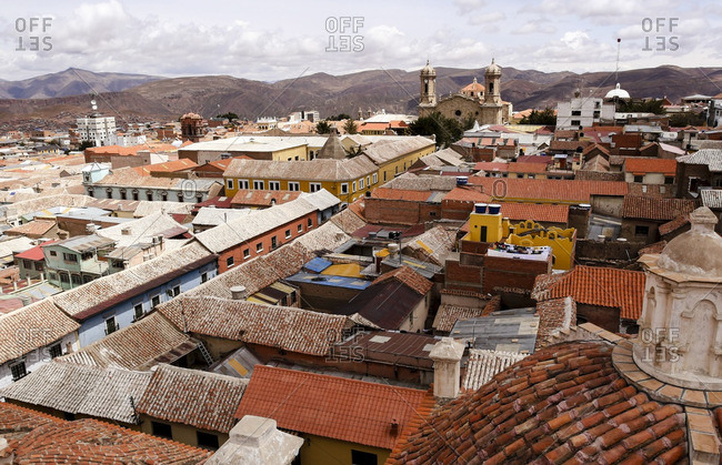 Overlooking terra cotta rooftops in Potosi, Bolivia
