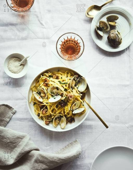 A clam and pasta dish