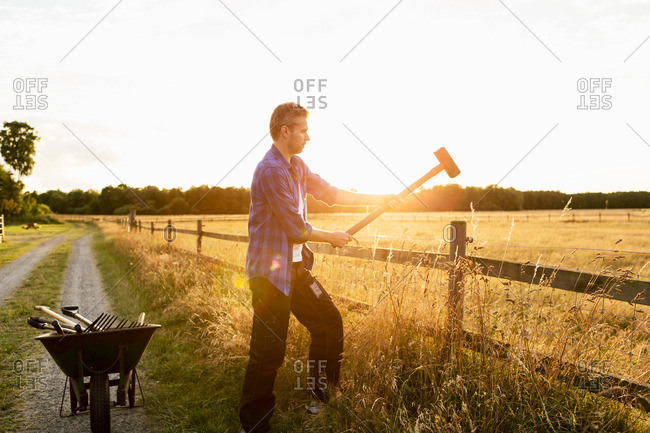 Man hammering fence on grassy field during sunny day