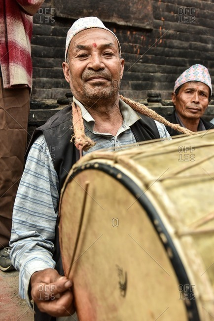 Nepal - April 12, 2016: Drummer at Bisket Jatra Festival, Nepal