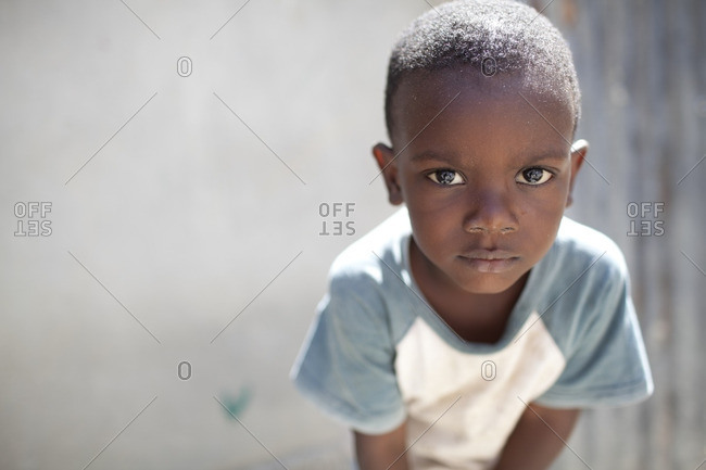 Haiti - February 20, 2011: Portrait of a small Haitian boy