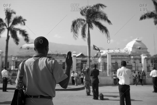 Scouts d'Haiti member saluting in Haiti