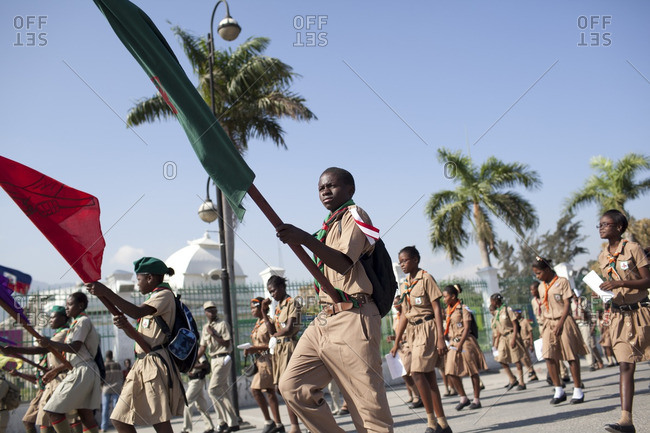 Haiti - February 26, 2011: Scouts d'Haiti members marching