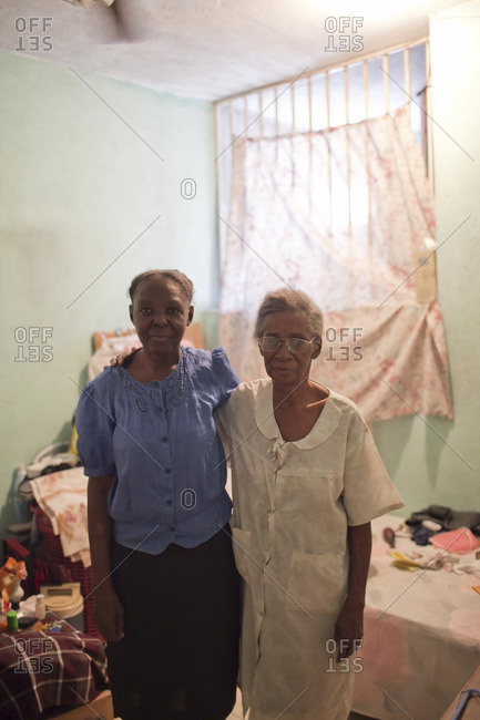 Haiti - February 26, 2011: Portrait of two Haitian women