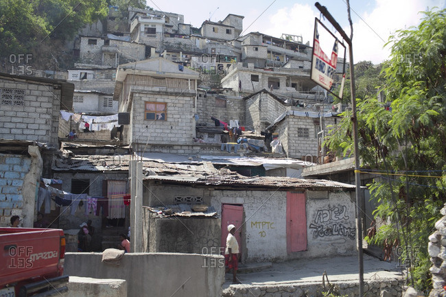 Haiti - February 26, 2011: Run-down residential neighborhood in Haiti