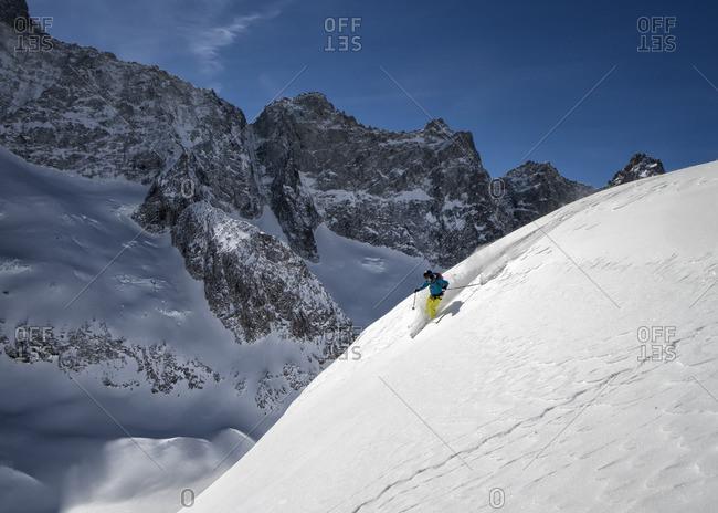 France, Isere, Les Deux Alps, Vallon de Selle, off-piste skiing