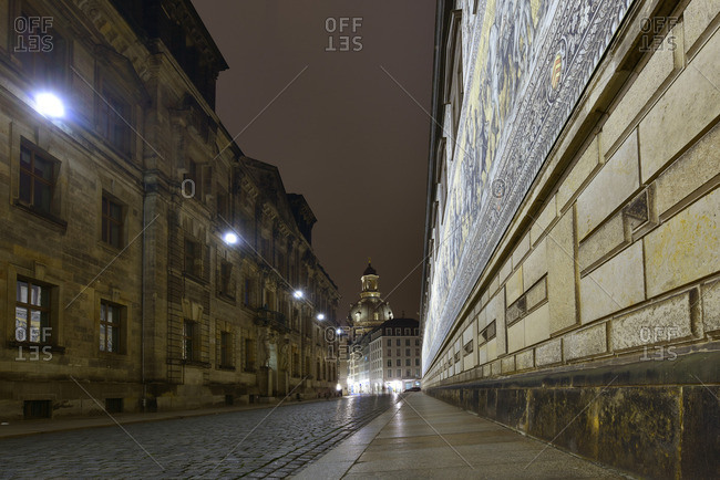 Germany, Saxony, Dresden, old town at night