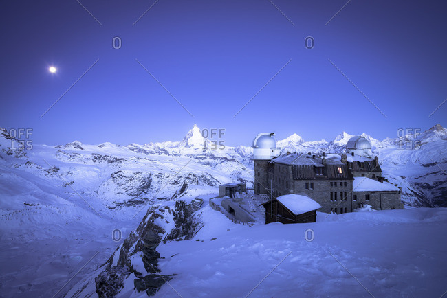 Switzerland, Zermatt, Gornergrat, Hotel, blue hour