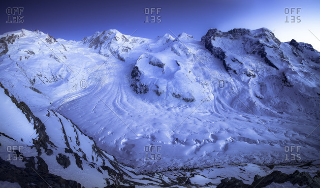 Switzerland, Zermatt, Gorner Ridge glacier, blue hour