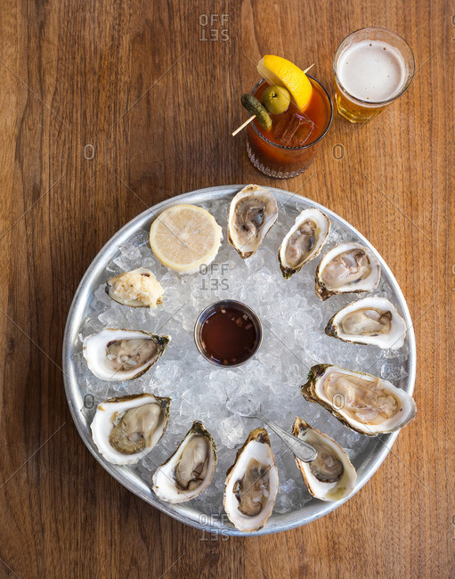 Oysters with bloody Mary and beer