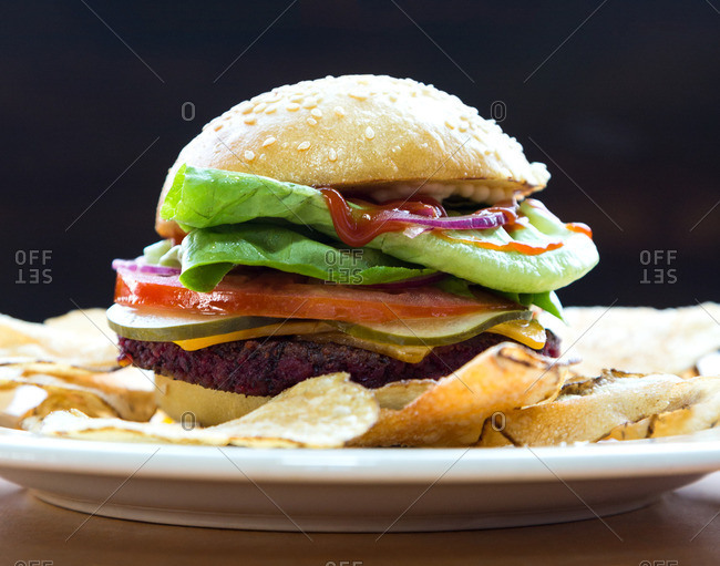 Veggie burger with potato chips