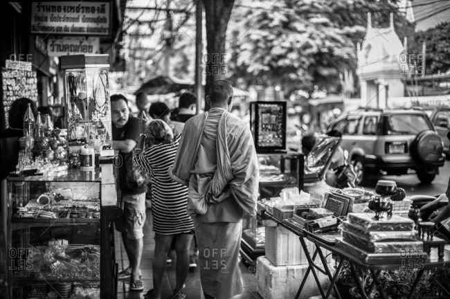 Bangkok, Thailand - May 9, 2012: People shopping in the Amulet Market in Bangkok, Thailand