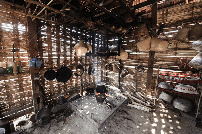 Traditional kitchen in a hut in Laos