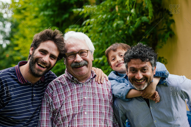 Three generations of male family together