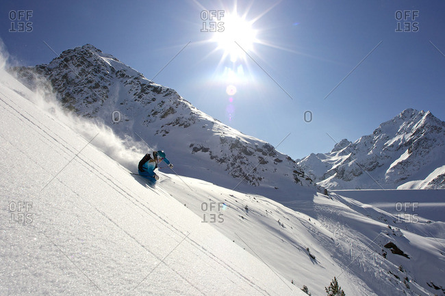 Female skiing off-piste, Kuhtai, Austria
