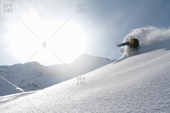 Man skiing off piste in Kuhtai , Tirol, Austria