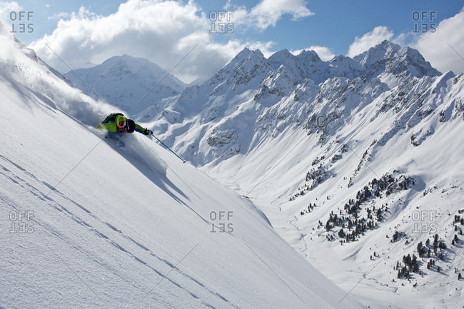 Man off piste skiing in Kuhtai , Tirol, Austria