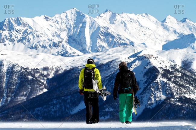 Snowboarders in Serre Chevalier, Briancon, France
