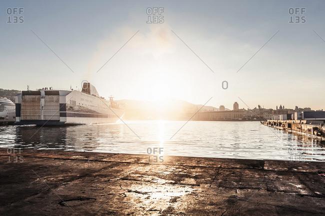 Ship in harbor, Genoa, Sardinia, Italy
