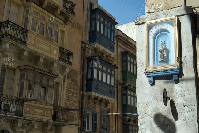 Religious icon on street corner, Valletta, Malta