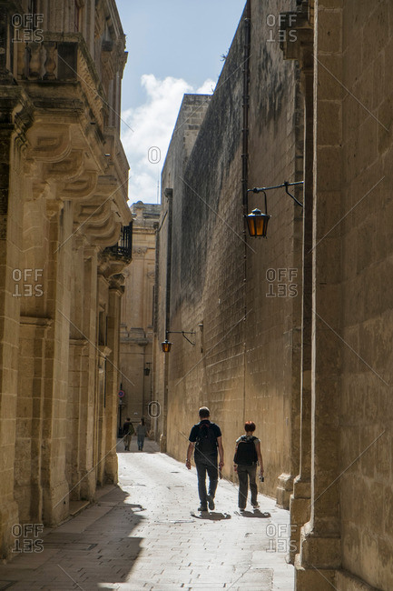 Street in medieval walled city, Mdina, Malta