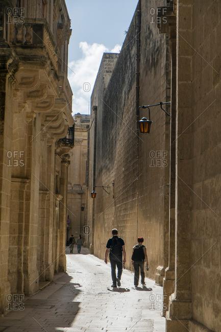 Street in medieval walled city, Mdina, Malta