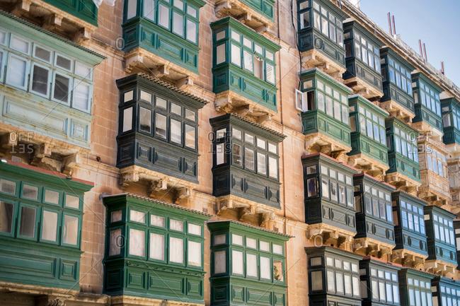 Typical balconies, Valletta, Malta