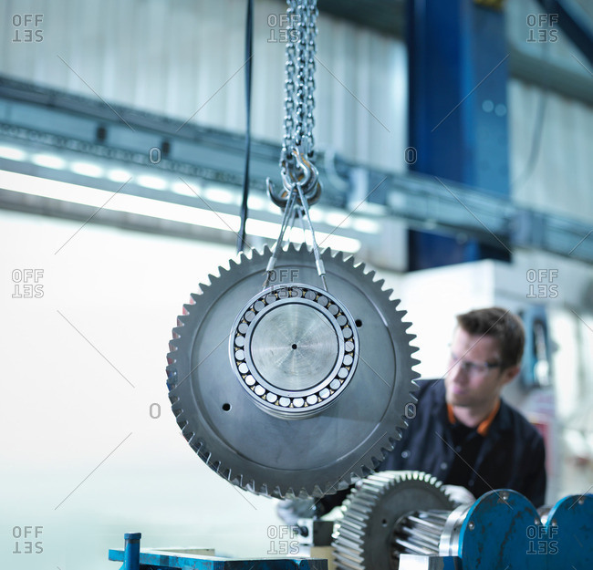Gear for industrial gearbox in being moved in an engineering factory