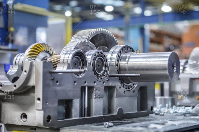 Industrial gearbox in factory