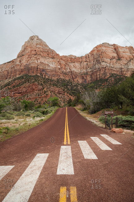 Road leading to a desert butte in Zion National Park, Utah