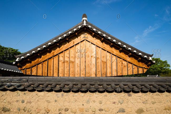 Building detail in the hanok village of Gyeongju Gyochon in South Korea
