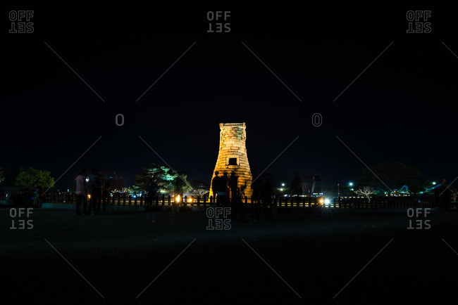April 25, 2016: Night time view of Cheomseongdae Observatory in Gyeongju, South Korea