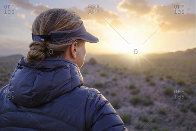 Woman looking at Arizona desert
