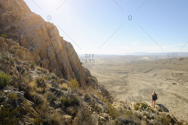 Woman on Texas desert overlook
