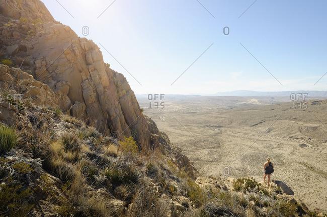 Woman on Texas desert overlook