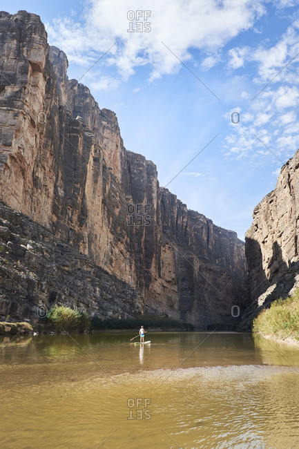 Paddle boarding in river gorge