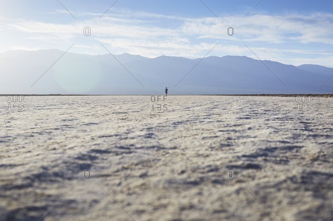 Person in Badwater Basin, California