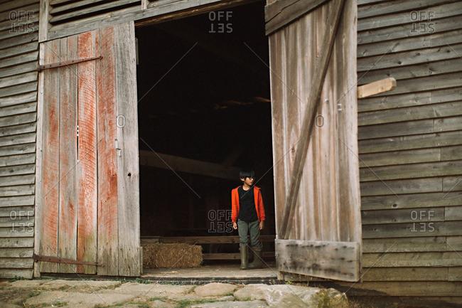 Open Barn Door barn door stock photos - offset