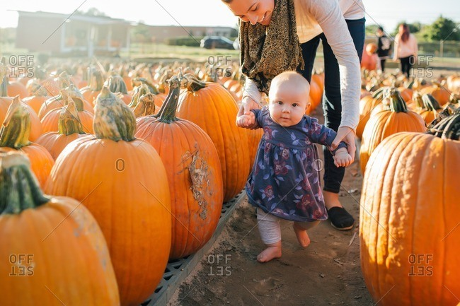 Mother and daughter walking through a pumpkin patch together