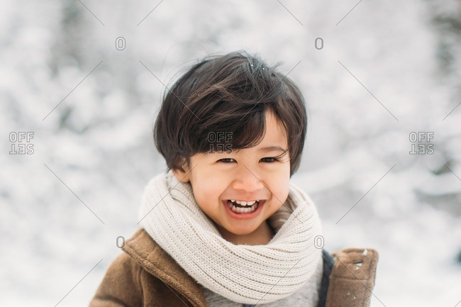 Boy standing outside on a winter's day