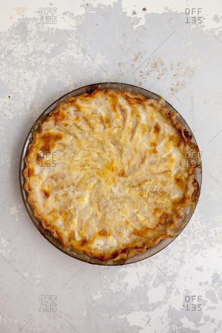 Pear custard pie on a table